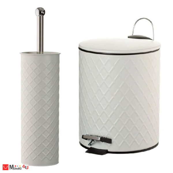 Комплект Кошче и Четка за Тоалетна, Метал, Бяло, 26 см, 28 см, Homey 1194909-10