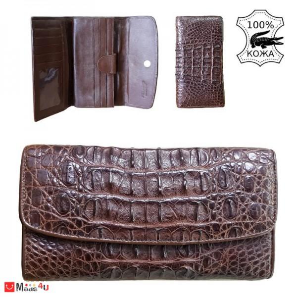 Портфейл от истинска Крокодилска кожа, дамски, голям, тъмно кафяв, 19х11см